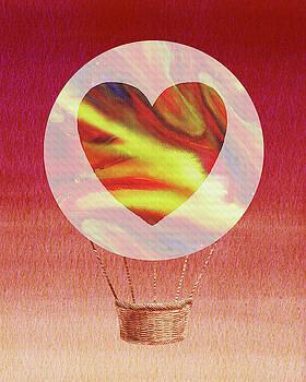 Happy Heart Hot Air Balloon Watercolor X by Irina Sztukowski