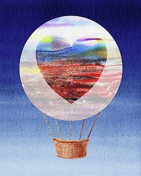 Happy Heart Hot Air Balloon Watercolor XI by Irina Sztukowski