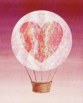 Happy Heart Hot Air Balloon Watercolor XII by Irina Sztukowski