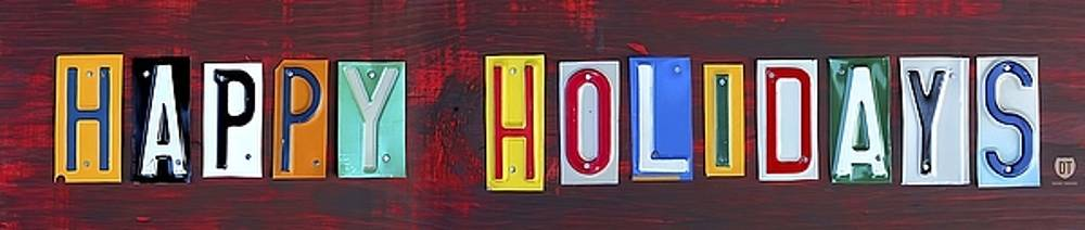 Happy Holidays License Plate Art Wall Art by David Bowman