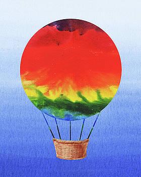 Happy Hot Air Balloon Watercolor I  by Irina Sztukowski
