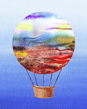 Happy Hot Air Balloon Watercolor VI by Irina Sztukowski
