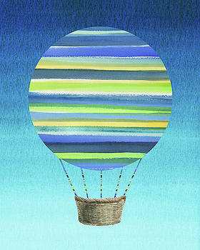 Happy Hot Air Balloon Watercolor XI by Irina Sztukowski
