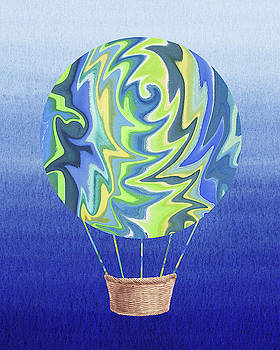 Happy Hot Air Balloon Watercolor XVI by Irina Sztukowski