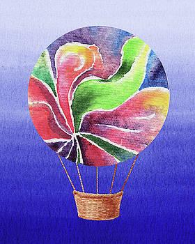 Happy Hot Air Balloon Watercolor XXV by Irina Sztukowski