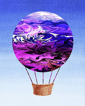 Happy Purple Hot Air Balloon Watercolor XIX by Irina Sztukowski