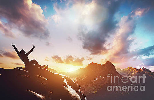 Happy successful man on the peak of the mountain by Michal Bednarek