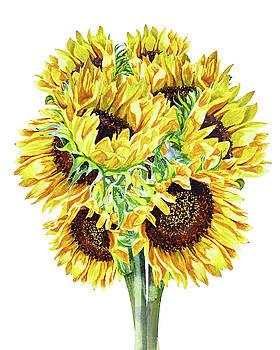 Happy Sunny Bunch of Watercolor Sunflowers by Irina Sztukowski