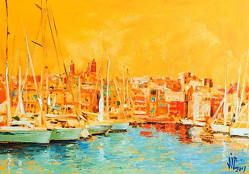 Vali Irina Ciobanu - Harbour Malta Colorfull Oil on canvas painting by Vali Irina Ciobanu