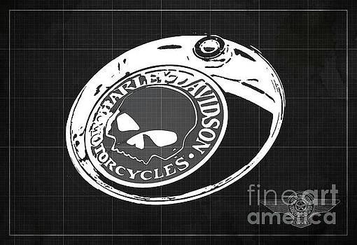 Harley Davidson Old Vintage Logo Fuel Tank Motorcycle Dark Grey Background by Drawspots Illustrations