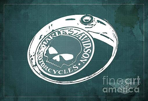 Harley Davidson Old Vintage Logo Fuel Tank Motorcycle Green Background by Drawspots Illustrations