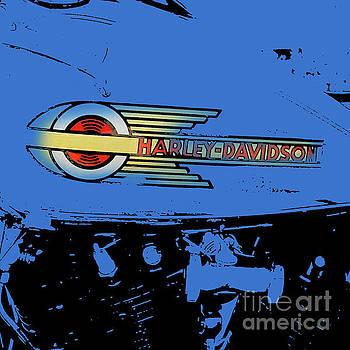 Harley Davidson tank logo blue artwork by Drawspots Illustrations