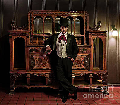 Sad Hill - Bizarre Los Angeles Archive - Haunted by History - Mission Inn - Man Posing by antique