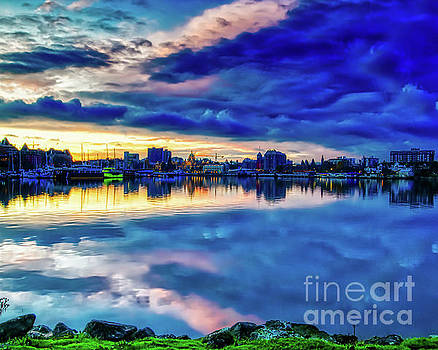 HDR of Dawn and Clouds Over Victoria Harbour, BC, Canada by Joe Kunzler