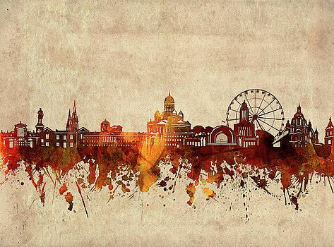 Helsinki Skyline Sepia by Bekim Art