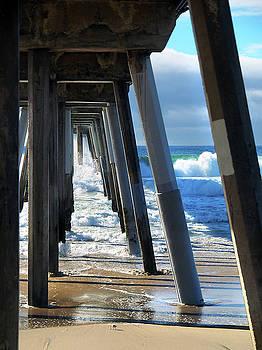Hermosa Beach pier and Sandpiper by Joe Schofield