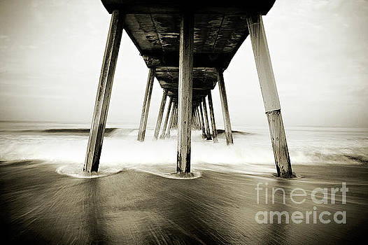 Hermosa Beach Pier in Black and White by Katya Horner