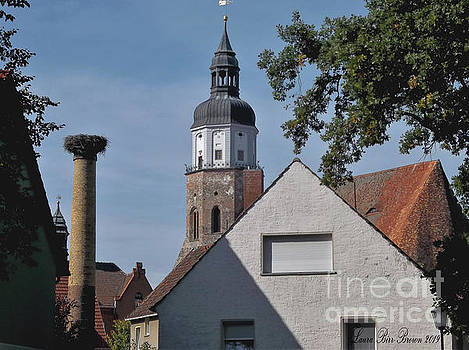 Herzberg, Germany Stork and Church by Laura Birr Brown