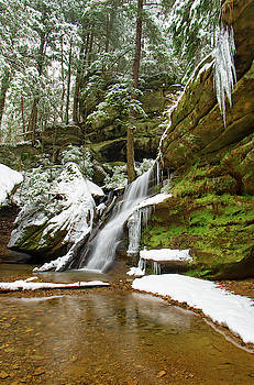 Hidden Falls near Cedar Falls in Winter, Hocking Hills State Park, OH by Ina Kratzsch