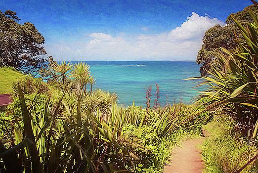 Hiking on Tiritiri Matangi New Zealand Painterly by Joan Carroll