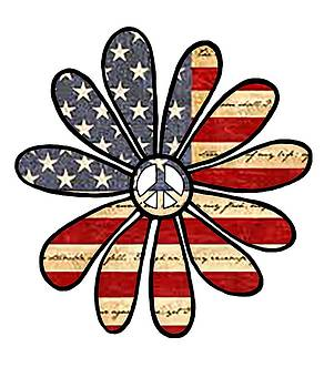 Hippie Flower Power Peace Sign American Flag by Swigalicious Art