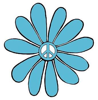 Hippie Flower Power Peace Sign in Aqua by Swigalicious Art
