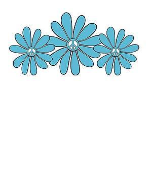 Hippie Peace Sign Flower Aqua by Swigalicious Art