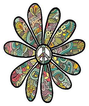 Hippie Trippy Flower Power Peace Sign Seventies by Swigalicious Art