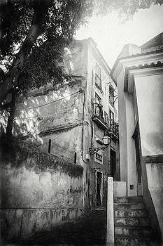Historic Alfama District Lisbon Portugal Black and White by Carol Japp
