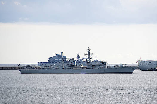 HMS Kent on Plymouth Sound by Chris Day