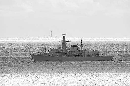 HMS Northumberland and the Eddystone Lighthouse by Chris Day