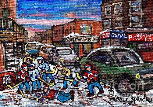 Hockey Art Pointe St Charles Street Scene Chic Regal Machiavelli Charlevoix Pizza C Spandau Artist   by Carole Spandau