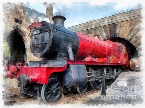Hogwarts Express Harry Potter Train Watercolor by Edward Fielding