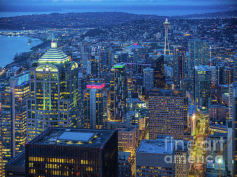Holidays Seattle at Night by Mike Reid
