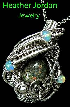 Honduran Black Opal Wire-Wrapped Pendant in Antiqued Sterling Silver with Ethiopian Welo Opals by Heather Jordan