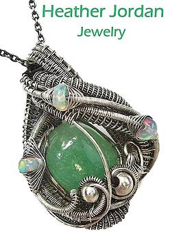 Honduran Jade Wire-Wrapped Pendant in Antiqued Sterling Silver with Ethiopian Welo Opals by Heather Jordan