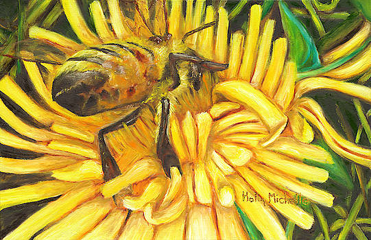 Honey Bee on Dandelion by Holly Michelle Hargus