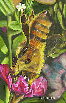 Honey Bee on Mexican Heather by Holly Michelle Hargus