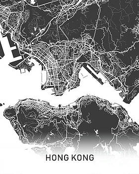 Hong Kong map black and white by Delphimages Photo Creations