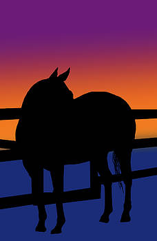 Horse and fence in silhouette by Cathy Harper