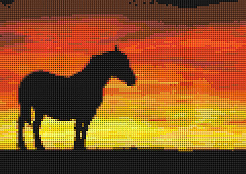 Horse at Sunset Artificial Cross Stitch by Tin Tran