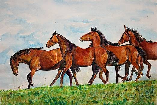 Horses in a row by Khalid Saeed