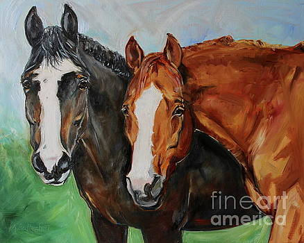 Horses In Oil Paint by Maria's Watercolor