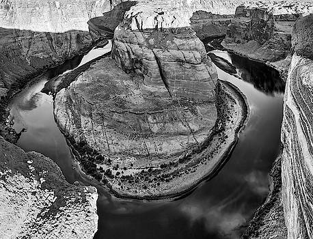 Horseshoe Bend and Colorado River Monochrome Landscape by Gregory Ballos