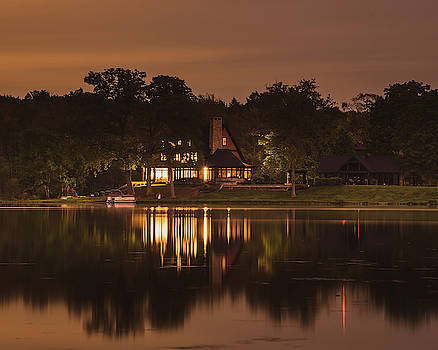 House on the Water at Night by Diane Schuler