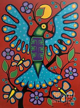 Hummingbird and Butterflies by Jim Oskineegish