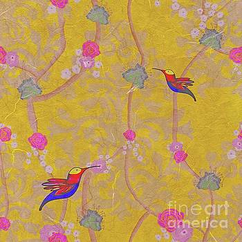 Hummingbird Gold Foil Seamless  by Priscilla Wolfe