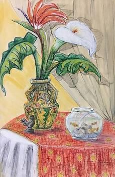 Hummingbird Vase with Goldfish by Ricardo Penalver