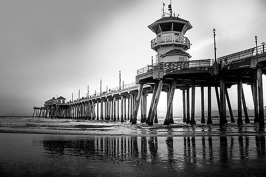 Huntington Beach Pier In Black And White by Art Spectrum