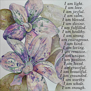 I am...positive affirmation art in lavendar and rose by Shadia Derbyshire